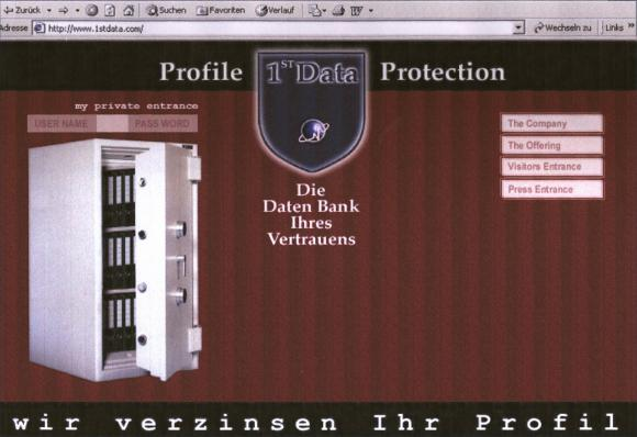 Homescreen von 1st Data, der ersten Daten Bank