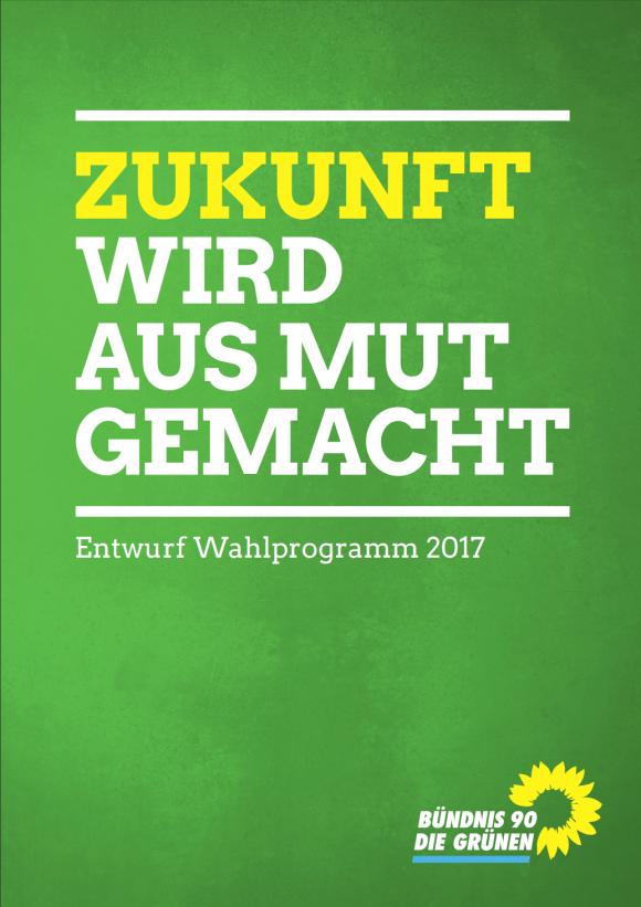 Titelblatt des Walprogrammentwurfes der Grünen