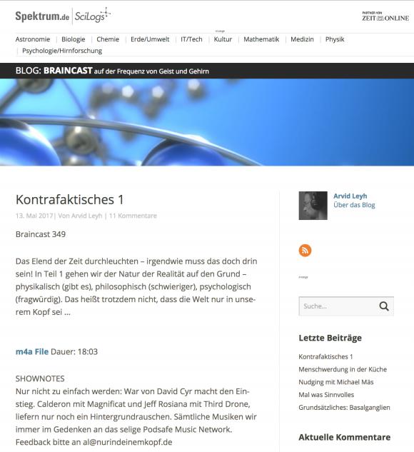 """Hinweis auf Braincast 349 """"Kontrafaktisches"""""""