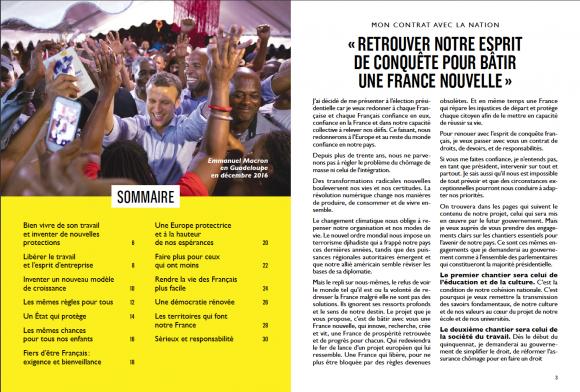 Seiten 2 und 3 des Regierungsprogramms von Macron