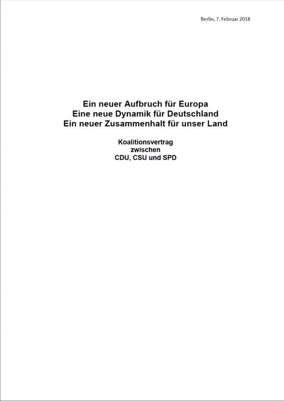 Seite 1 des Koalitionsvertrages