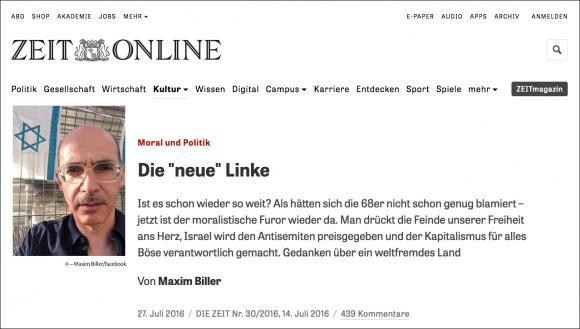 """Artikel """"Die neue Linke"""" von Biller in der Zeit"""