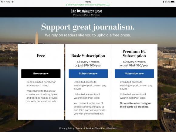 Die Washington Post kostet 60$ im Jahr