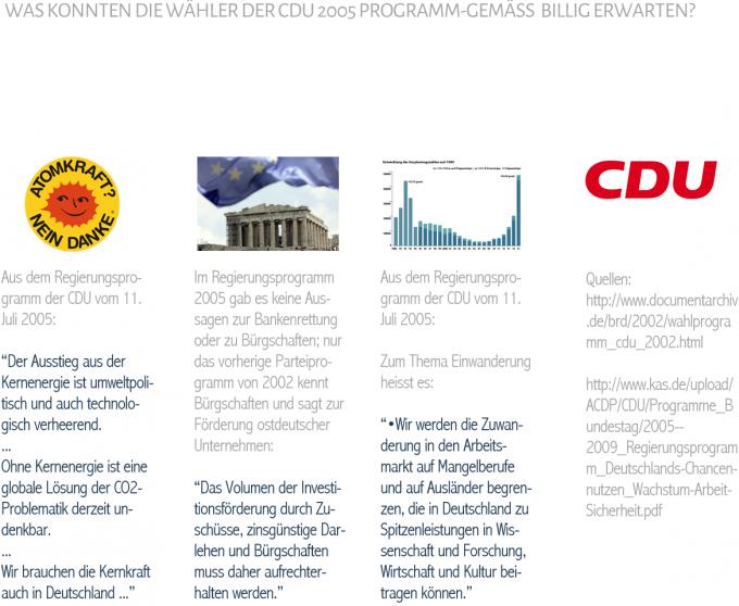 Gezeigt werden Aussagen der CDU aus dem Wahlprogramm 2002 oder dem Regierungsprogramm 2005