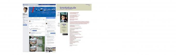 Abbildung der Facebook Site und der WebSite tractatus.de
